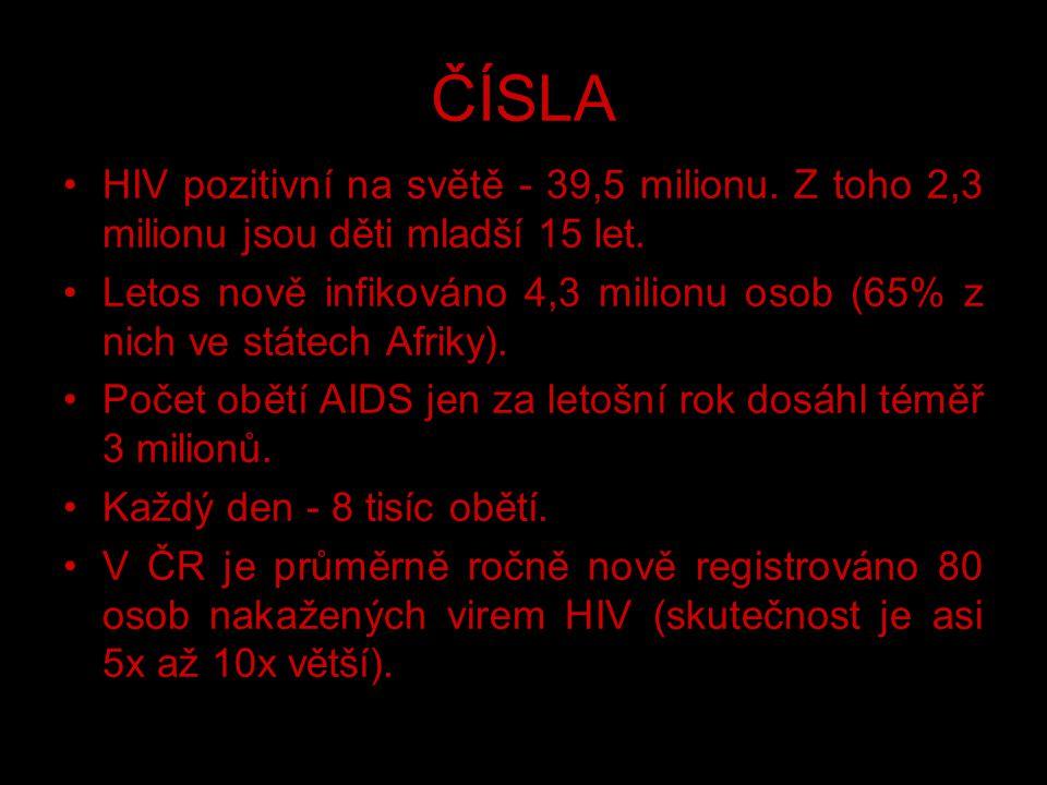 ČÍSLA HIV pozitivní na světě - 39,5 milionu. Z toho 2,3 milionu jsou děti mladší 15 let. Letos nově infikováno 4,3 milionu osob (65% z nich ve státech