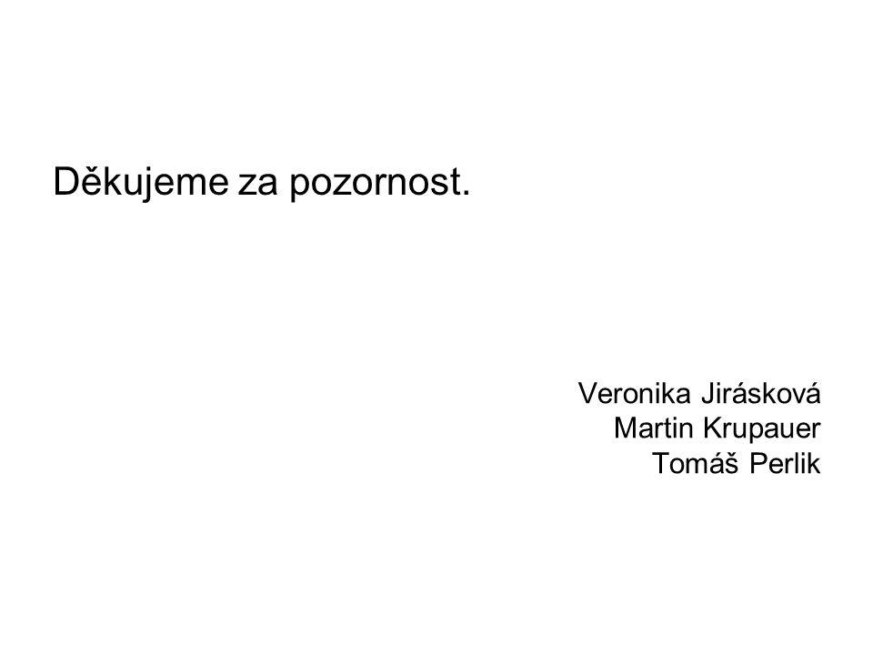 Veronika Jirásková Martin Krupauer Tomáš Perlik Děkujeme za pozornost.