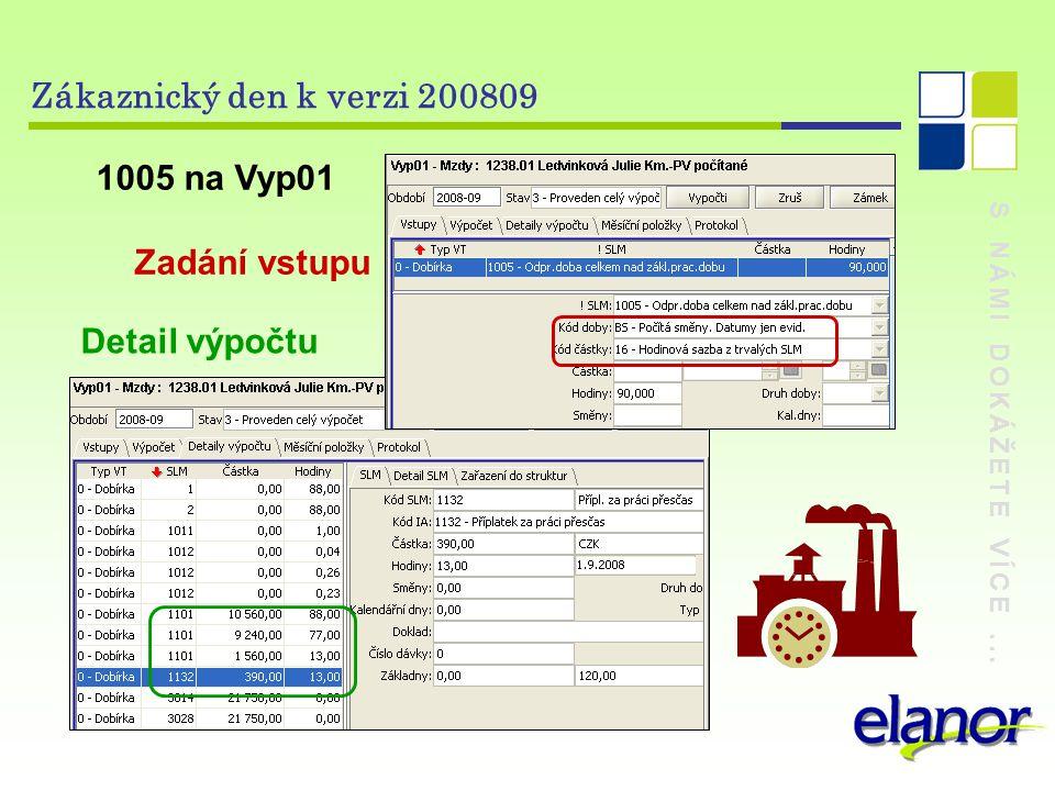 S NÁMI DOKÁŽETE VÍCE... Zákaznický den k verzi 200809 1005 na Vyp01 Zadání vstupu Detail výpočtu