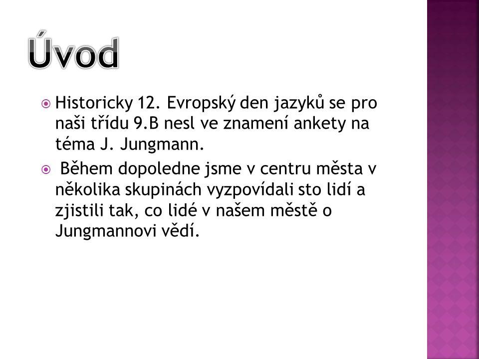  Historicky 12. Evropský den jazyků se pro naši třídu 9.B nesl ve znamení ankety na téma J. Jungmann.  Během dopoledne jsme v centru města v několik