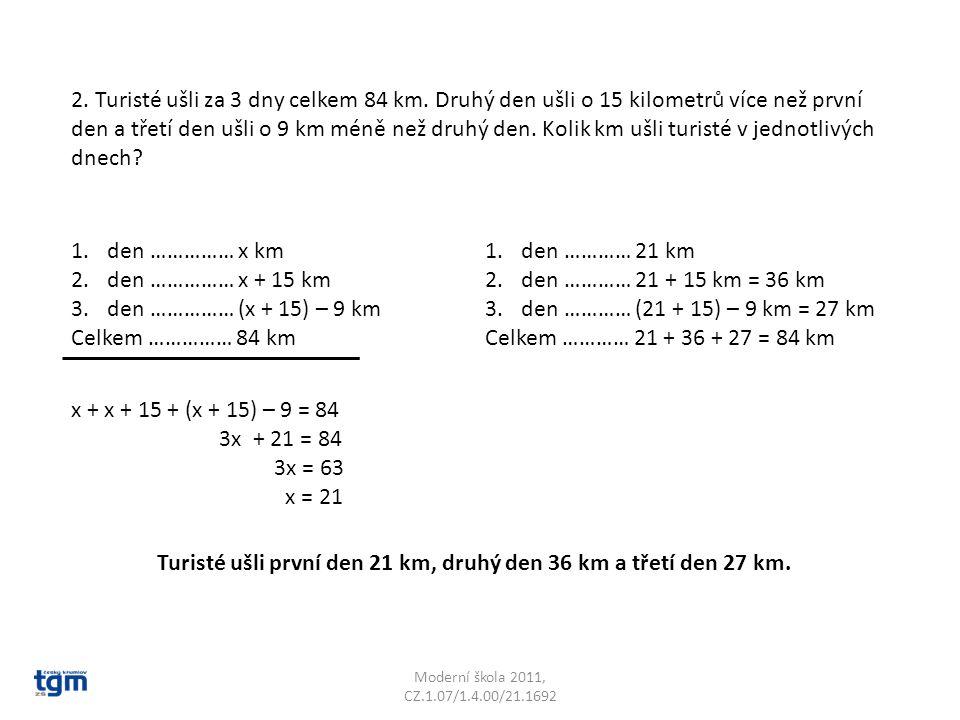 Moderní škola 2011, CZ.1.07/1.4.00/21.1692 2.Turisté ušli za 3 dny celkem 84 km.
