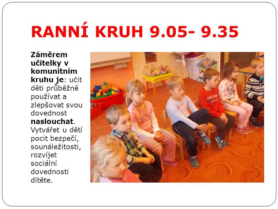 RANNÍ KRUH 9.05- 9.35 Záměrem učitelky v komunitním kruhu je: učit děti průběžně používat a zlepšovat svou dovednost naslouchat. Vytvářet u dětí pocit