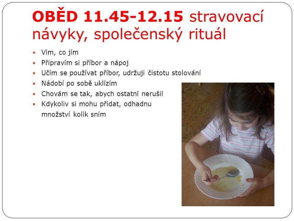 OBĚD 11.45-12.15 stravovací návyky, společenský rituál Vím, co jím Připravím si příbor a nápoj Učím se používat příbor, udržuji čistotu stolování Nádo