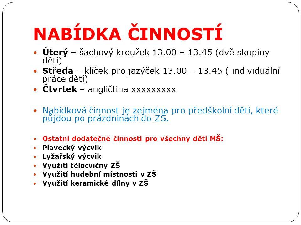 NABÍDKA ČINNOSTÍ Úterý – šachový kroužek 13.00 – 13.45 (dvě skupiny dětí) Středa – klíček pro jazýček 13.00 – 13.45 ( individuální práce dětí) Čtvrtek