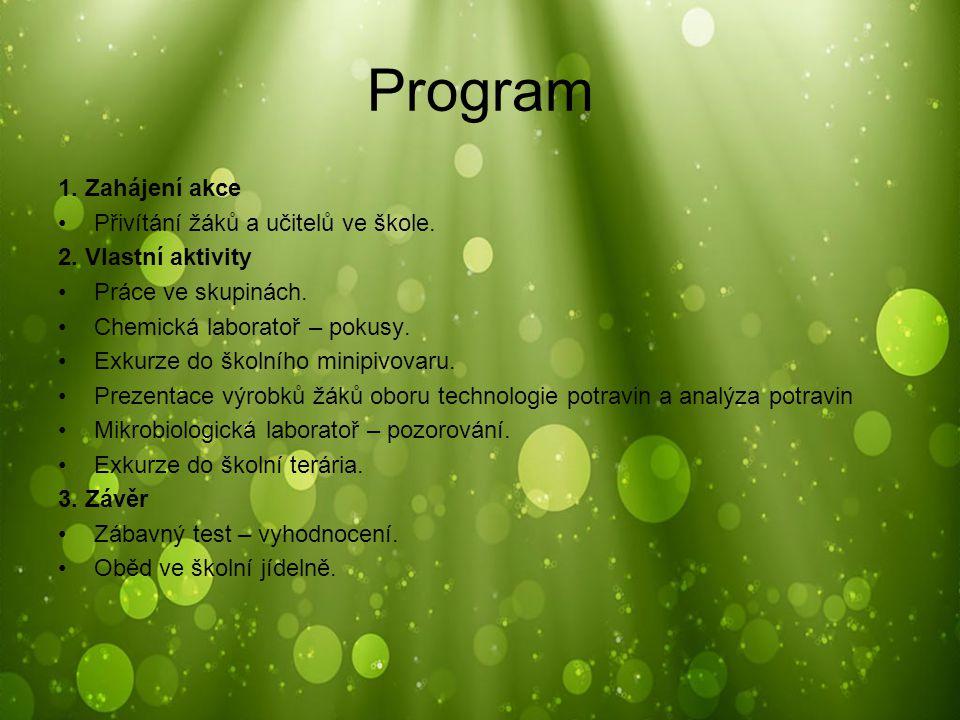 Program 1. Zahájení akce Přivítání žáků a učitelů ve škole. 2. Vlastní aktivity Práce ve skupinách. Chemická laboratoř – pokusy. Exkurze do školního m