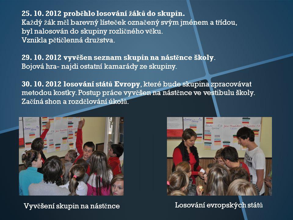 25. 10. 2012 prob ě hlo losování ž ák ů do skupin.