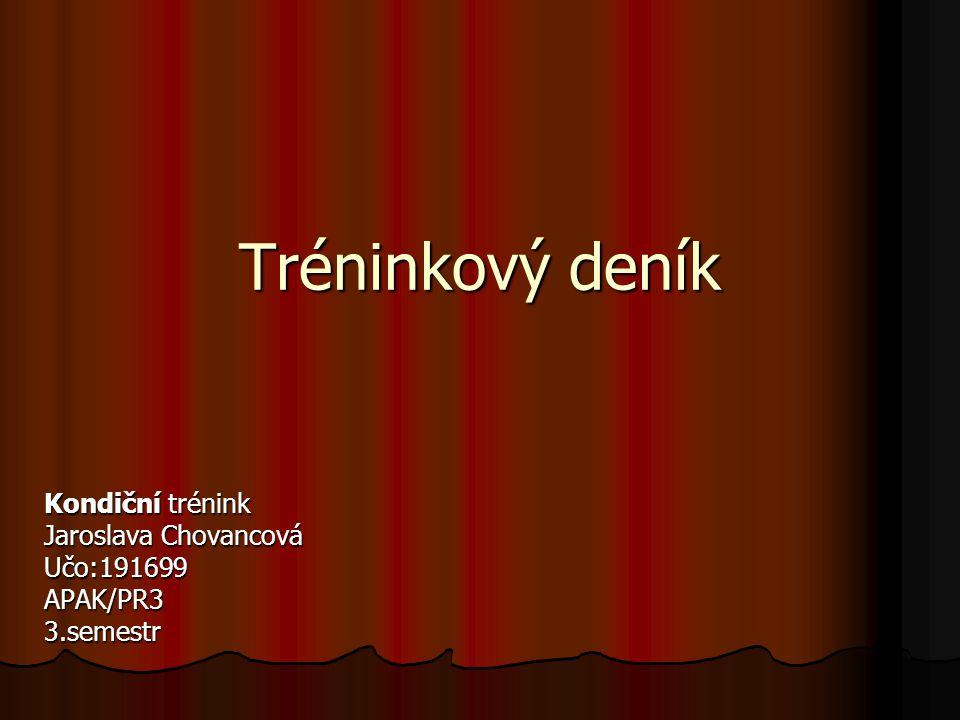 Tréninkový deník Kondiční trénink Jaroslava Chovancová Učo:191699APAK/PR33.semestr