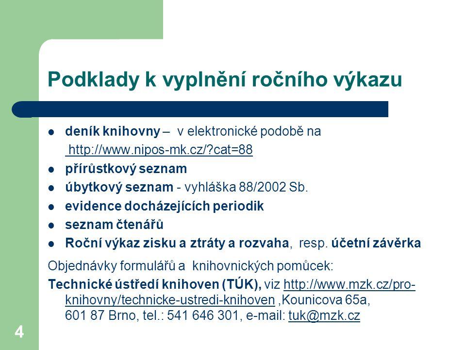 Podklady k vyplnění ročního výkazu deník knihovny – v elektronické podobě na http://www.nipos-mk.cz/?cat=88 přírůstkový seznam úbytkový seznam - vyhláška 88/2002 Sb.