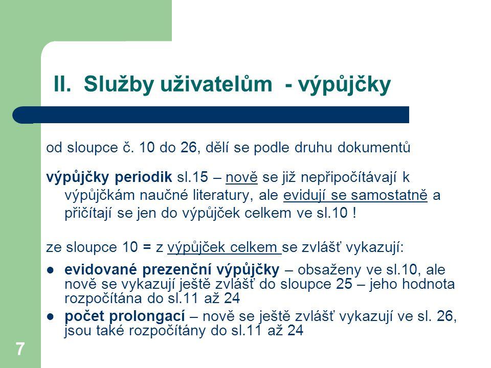 II.Služby uživatelům - výpůjčky od sloupce č.