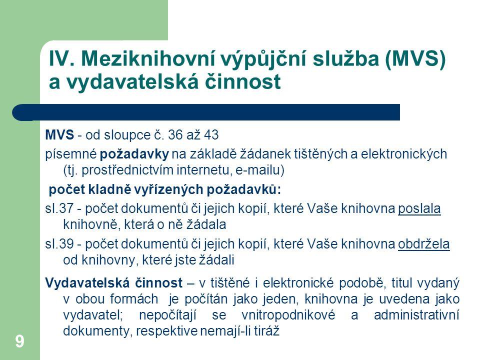 IV.Meziknihovní výpůjční služba (MVS) a vydavatelská činnost MVS - od sloupce č.