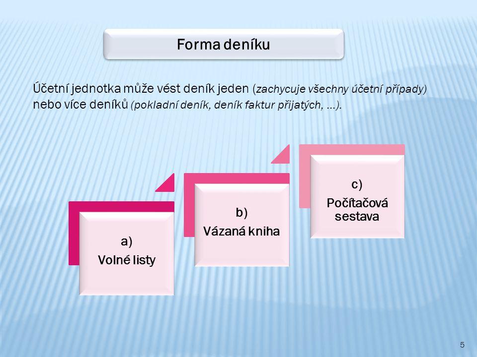 5 a) Volné listy b) Vázaná kniha c) Počítačová sestava Forma deníku Účetní jednotka může vést deník jeden ( zachycuje všechny účetní případy) nebo více deníků (pokladní deník, deník faktur přijatých, …).