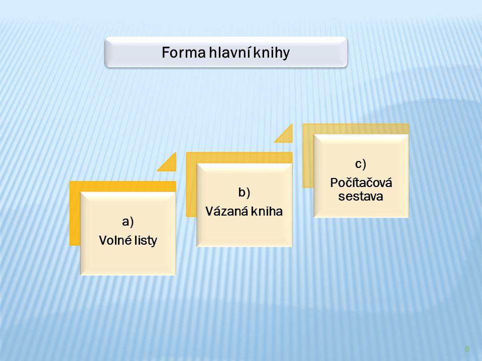 8 a) Volné listy b) Vázaná kniha c) Počítačová sestava Forma hlavní knihy