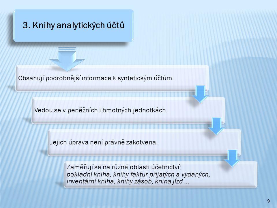 9 Obsahují podrobnější informace k syntetickým účtům.Vedou se v peněžních i hmotných jednotkách.Jejich úprava není právně zakotvena.
