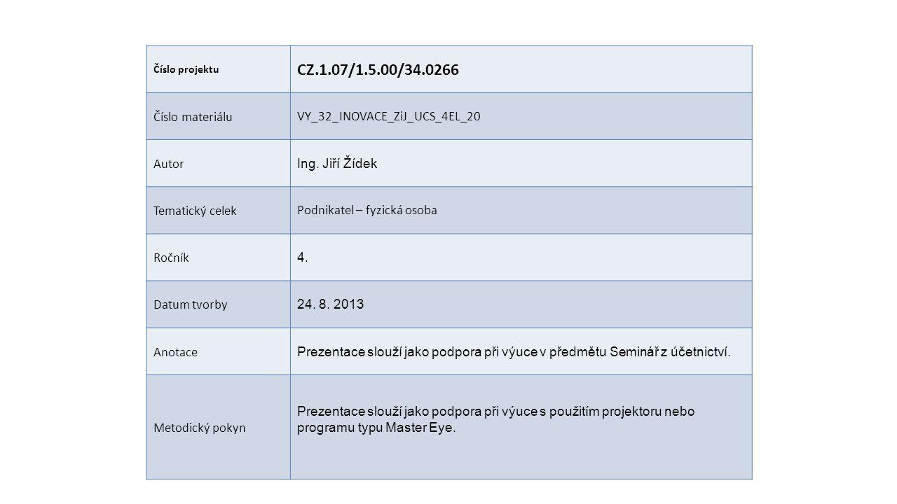 Číslo projektu CZ.1.07/1.5.00/34.0266 Číslo materiáluVY_32_INOVACE_ZiJ_UCS_4EL_20 Autor Ing. Jiří Žídek Tematický celekPodnikatel – fyzická osoba Ročn
