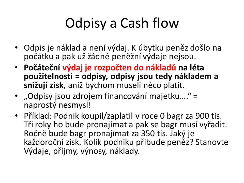 Odpisy a Cash flow Odpis je náklad a není výdaj. K úbytku peněz došlo na počátku a pak už žádné peněžní výdaje nejsou. Počáteční výdaj je rozpočten do