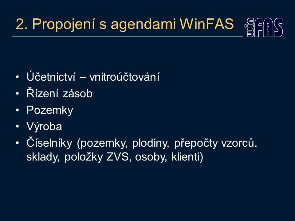 2. Propojení s agendami WinFAS Účetnictví – vnitroúčtování Řízení zásob Pozemky Výroba Číselníky (pozemky, plodiny, přepočty vzorců, sklady, položky Z