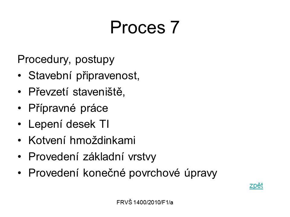 FRVŠ 1400/2010/F1/a Proces 7 Procedury, postupy Stavební připravenost, Převzetí staveniště, Přípravné práce Lepení desek TI Kotvení hmoždinkami Provedení základní vrstvy Provedení konečné povrchové úpravy zpět