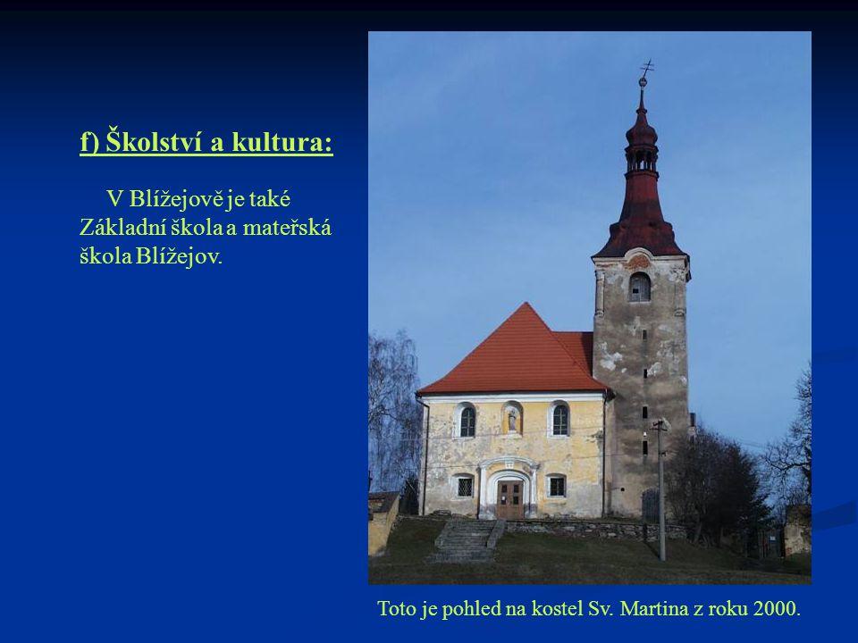 f) Školství a kultura: V Blížejově je také Základní škola a mateřská škola Blížejov. Toto je pohled na kostel Sv. Martina z roku 2000.