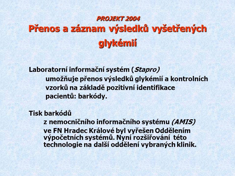 PROJEKT 2004 Přenos a záznam výsledků vyšetřených glykémií Laboratorní informační systém (Stapro) umožňuje přenos výsledků glykémií a kontrolních vzor