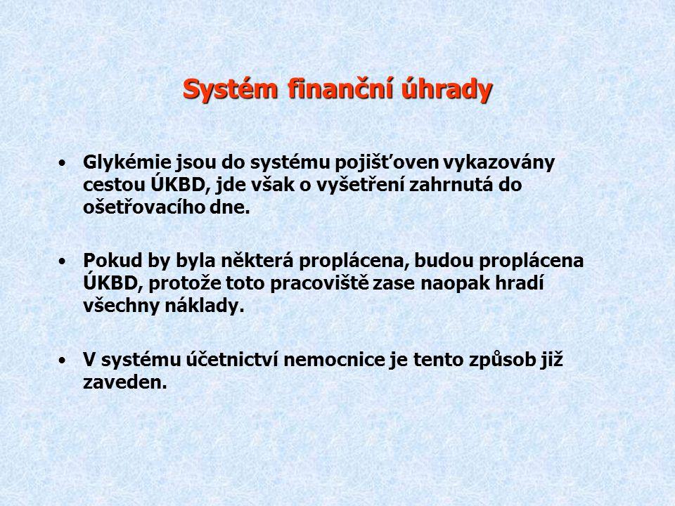 Systém finanční úhrady Glykémie jsou do systému pojišťoven vykazovány cestou ÚKBD, jde však o vyšetření zahrnutá do ošetřovacího dne. Pokud by byla ně