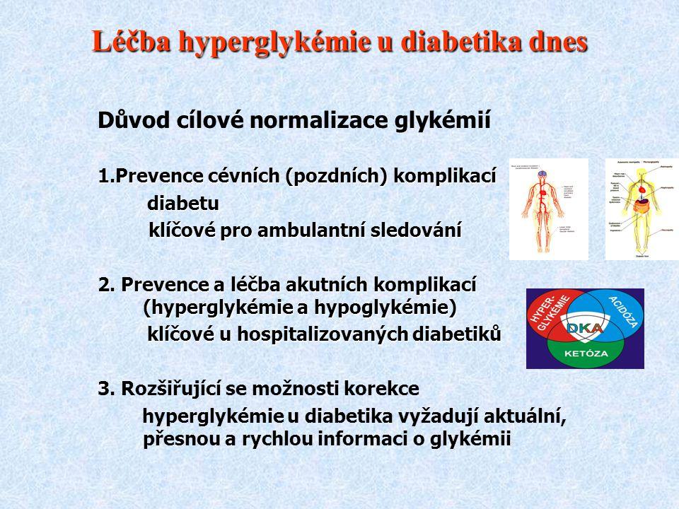 Léčba hyperglykémie u diabetika dnes Důvod cílové normalizace glykémií 1.Prevence cévních (pozdních) komplikací diabetu diabetu klíčové pro ambulantní