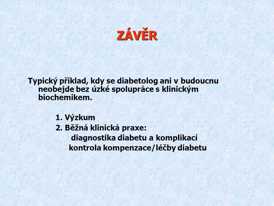 ZÁVĚR Typický příklad, kdy se diabetolog ani v budoucnu neobejde bez úzké spolupráce s klinickým biochemikem. 1. Výzkum 2. Běžná klinická praxe: diagn