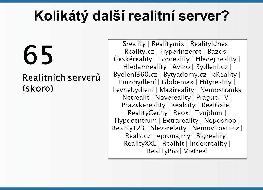Kolikátý další realitní server? Sreality | Realitymix | RealityIdnes | Reality.cz | Hyperinzerce | Bazos | Českéreality | Topreality | Hledej reality
