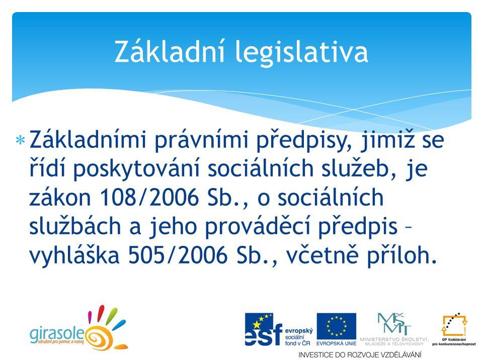  Základními právními předpisy, jimiž se řídí poskytování sociálních služeb, je zákon 108/2006 Sb., o sociálních službách a jeho prováděcí předpis – vyhláška 505/2006 Sb., včetně příloh.