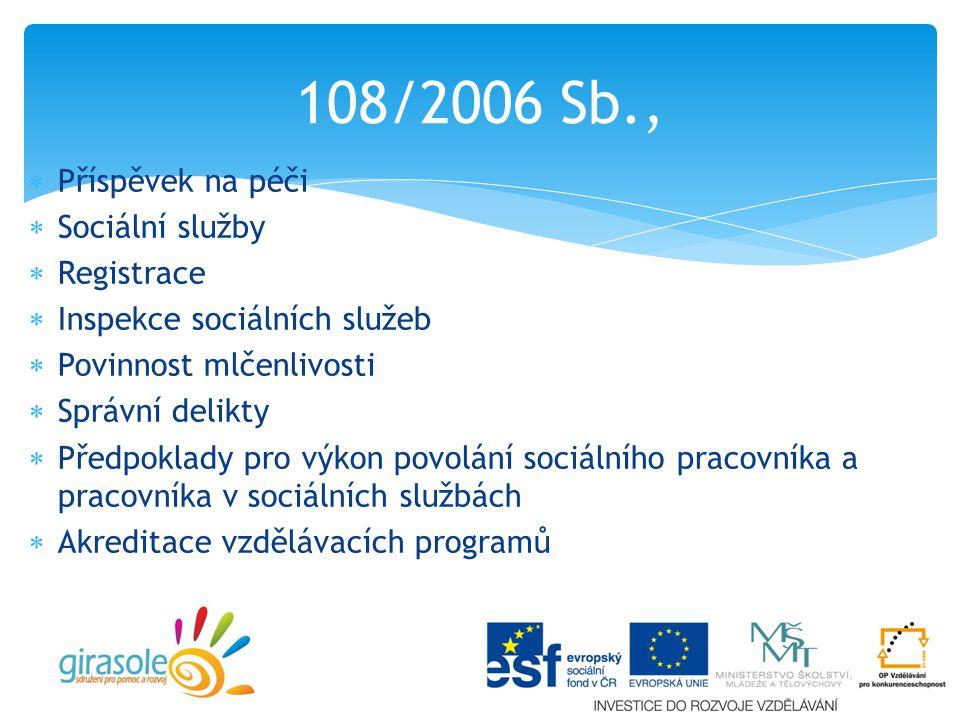  Příspěvek na péči  Sociální služby  Registrace  Inspekce sociálních služeb  Povinnost mlčenlivosti  Správní delikty  Předpoklady pro výkon povolání sociálního pracovníka a pracovníka v sociálních službách  Akreditace vzdělávacích programů 108/2006 Sb.,