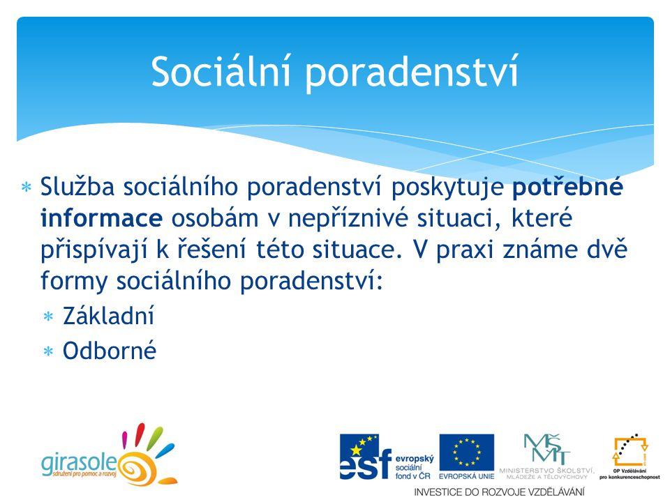  Služba sociálního poradenství poskytuje potřebné informace osobám v nepříznivé situaci, které přispívají k řešení této situace.