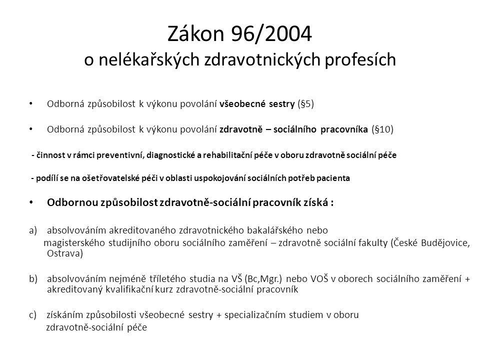 Zákon 96/2004 o nelékařských zdravotnických profesích Odborná způsobilost k výkonu povolání všeobecné sestry (§5) Odborná způsobilost k výkonu povolán