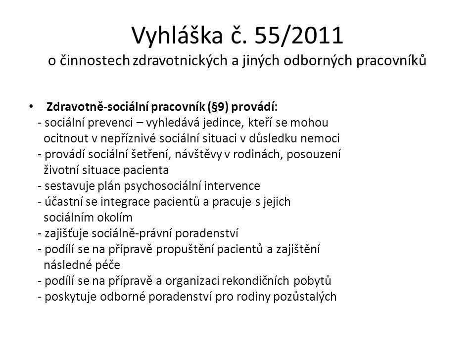 Vyhláška č. 55/2011 o činnostech zdravotnických a jiných odborných pracovníků Zdravotně-sociální pracovník (§9) provádí: - sociální prevenci – vyhledá