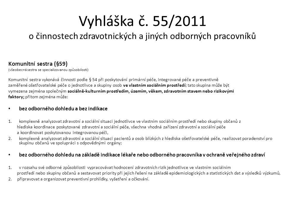 Vyhláška č. 55/2011 o činnostech zdravotnických a jiných odborných pracovníků Komunitní sestra (§59) (všeobecná sestra se specializovanou způsobilostí