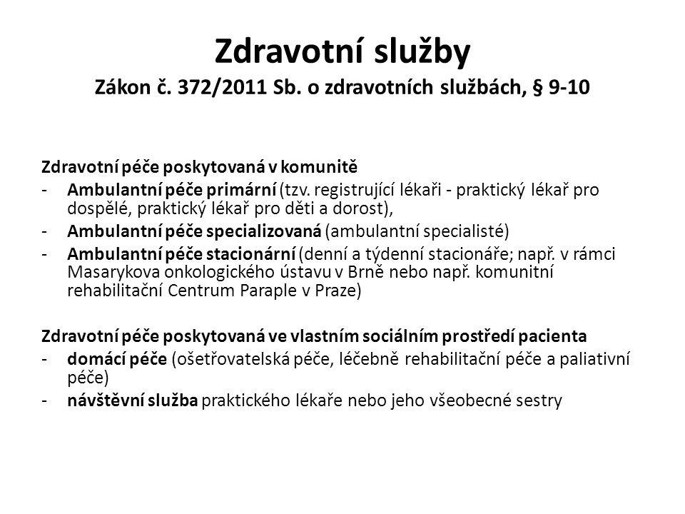 Zdravotní služby Zákon č. 372/2011 Sb. o zdravotních službách, § 9-10 Zdravotní péče poskytovaná v komunitě -Ambulantní péče primární (tzv. registrují