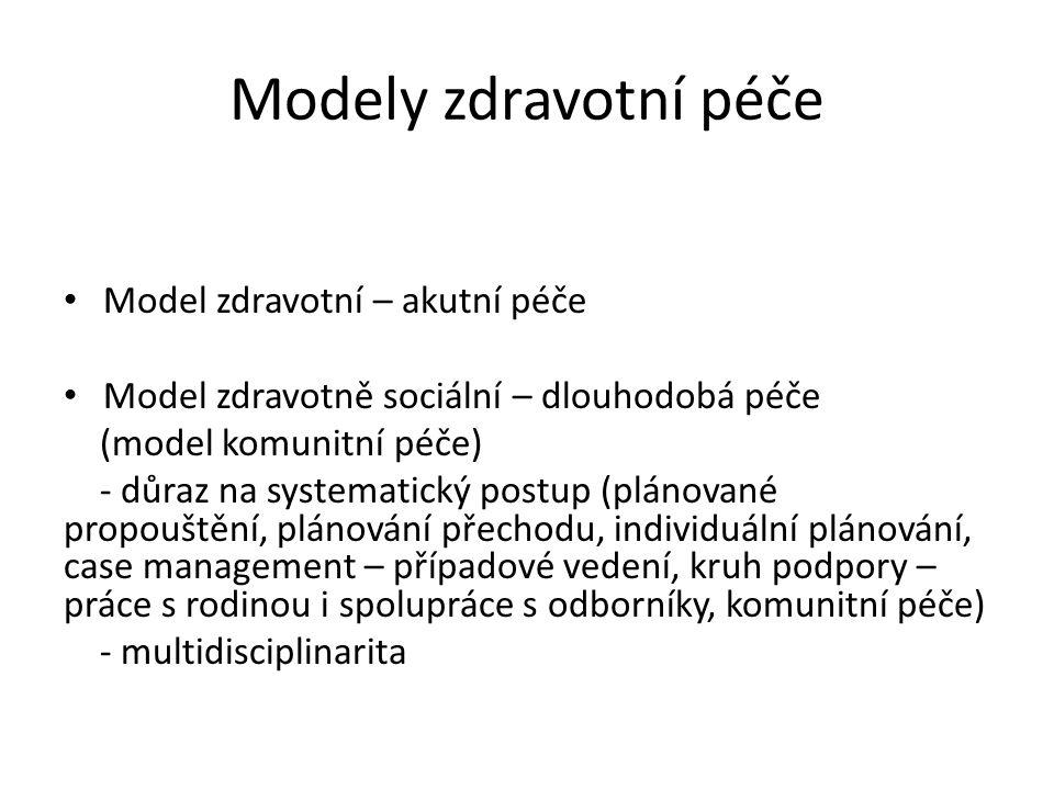 Modely zdravotní péče Model zdravotní – akutní péče Model zdravotně sociální – dlouhodobá péče (model komunitní péče) - důraz na systematický postup (