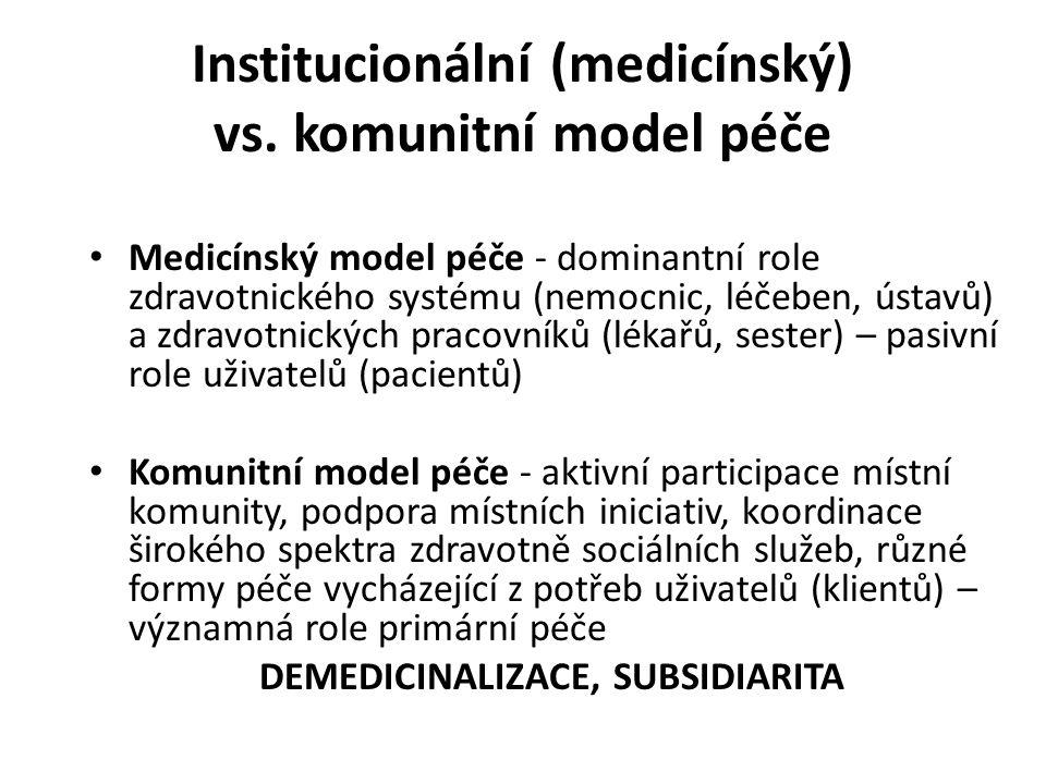Institucionální (medicínský) vs. komunitní model péče Medicínský model péče - dominantní role zdravotnického systému (nemocnic, léčeben, ústavů) a zdr