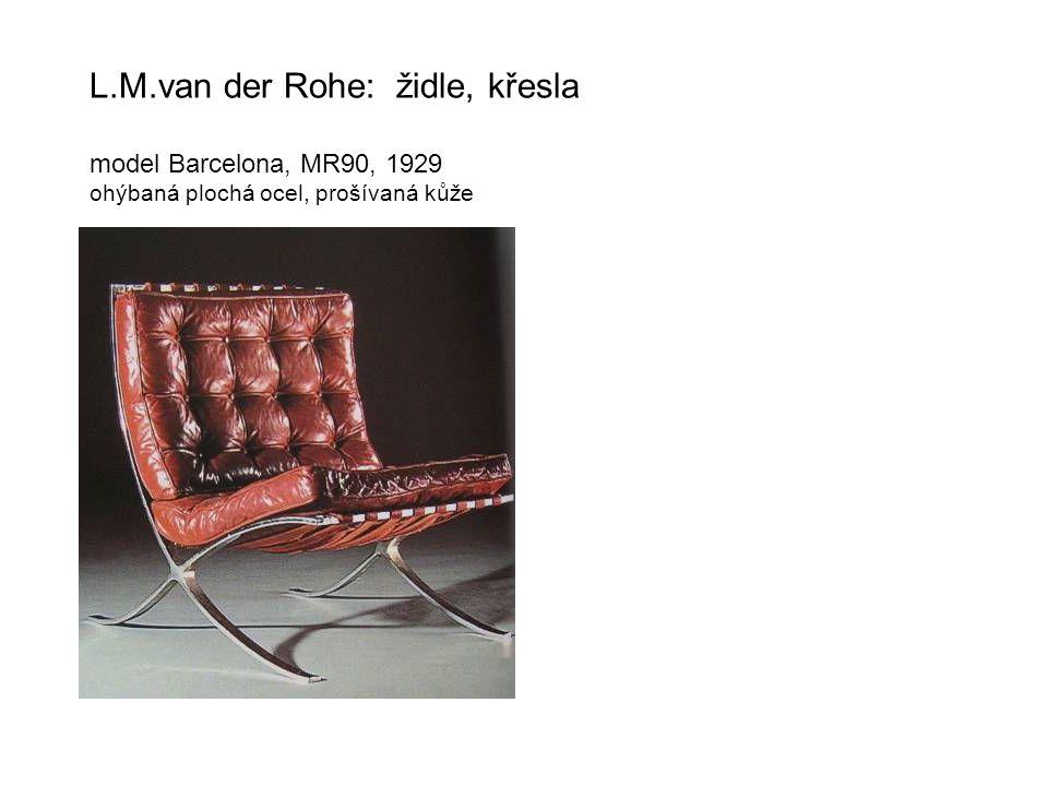 L.M.van der Rohe: židle, křesla model Barcelona, MR90, 1929 ohýbaná plochá ocel, prošívaná kůže