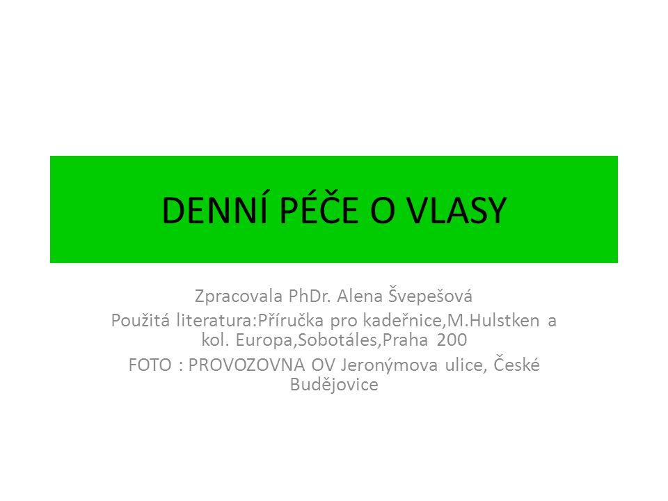 DENNÍ PÉČE O VLASY Zpracovala PhDr. Alena Švepešová Použitá literatura:Příručka pro kadeřnice,M.Hulstken a kol. Europa,Sobotáles,Praha 200 FOTO : PROV