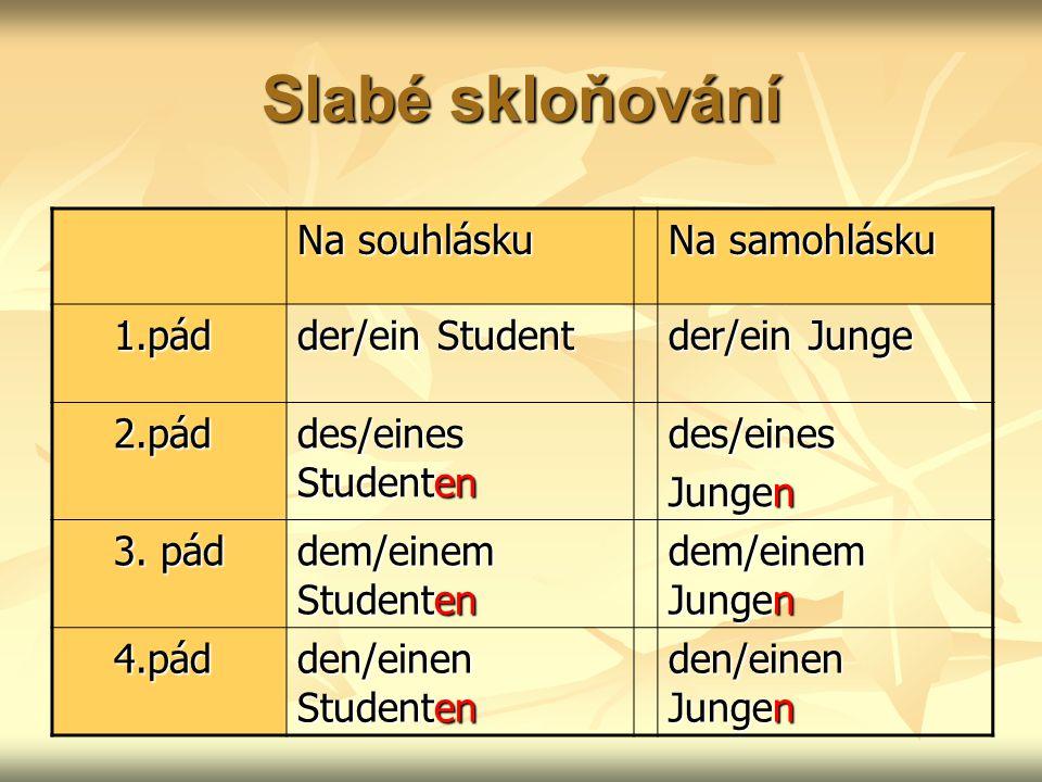Slabé skloňování Na souhlásku Na samohlásku 1.pád 1.pád der/ein Student der/ein Junge 2.pád 2.pád des/eines Studenten des/eines Jungen 3.