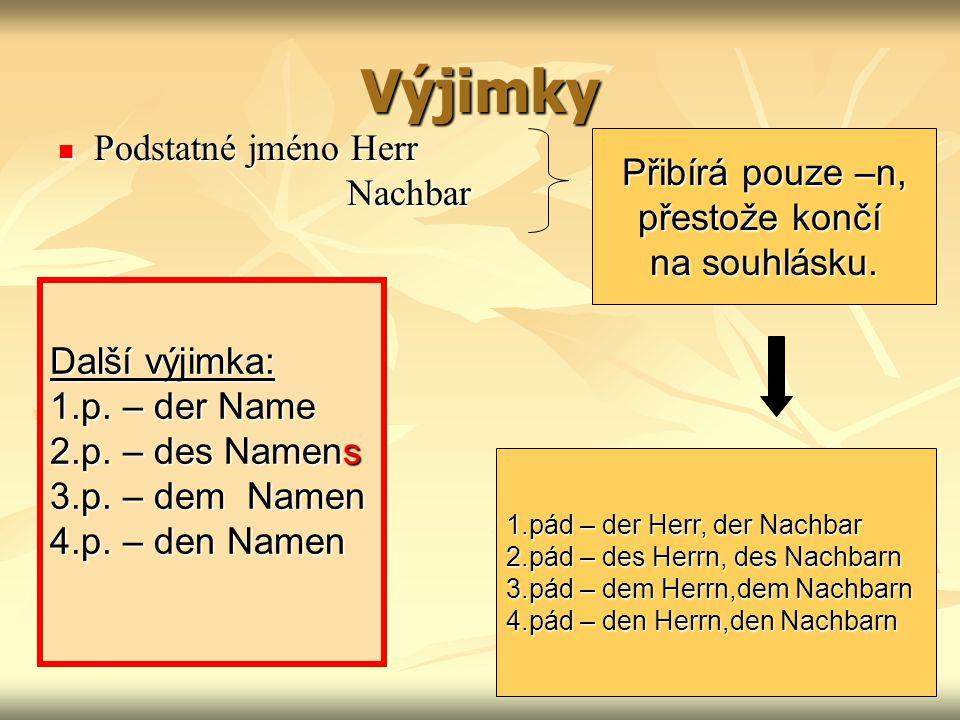 Slabé skloňování mají: Podstatná jména končící na –e der Bube – hoch der Neffe – synovec der Zeuge – svědek der Erbe – dědic der Gatte – manžel der Riese – obr Některá jména zvířat der Affe – opice der Hase - zajíc der Bär – medvěd der Löwe - lev der Elefant – slon der Rabe – havran der Falke – sokol der Spatz – vrabec der Drache – drak der Ochs - vůl