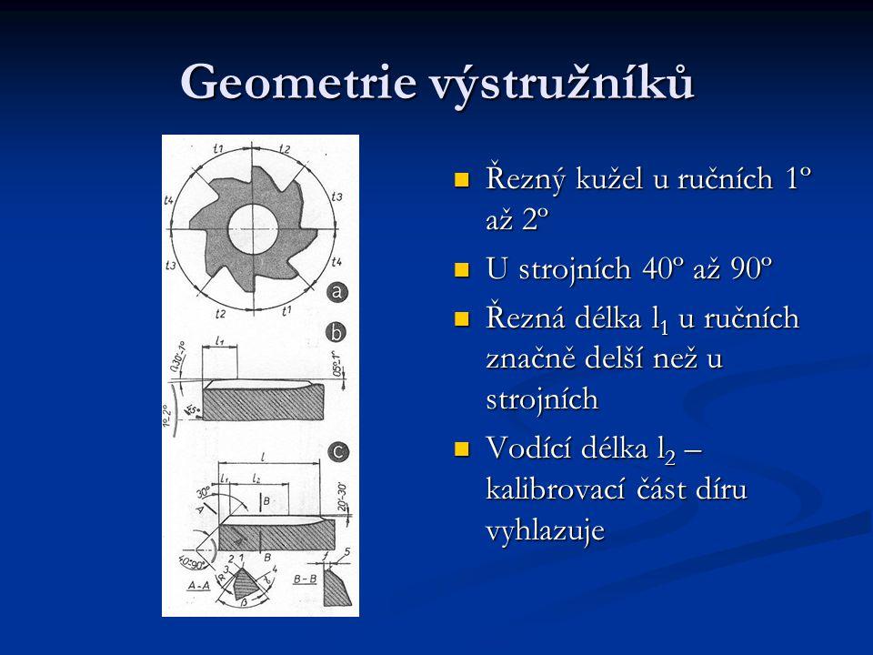 Geometrie výstružníků Řezný kužel u ručních 1º až 2º U strojních 40º až 90º Řezná délka l 1 u ručních značně delší než u strojních Vodící délka l 2 –