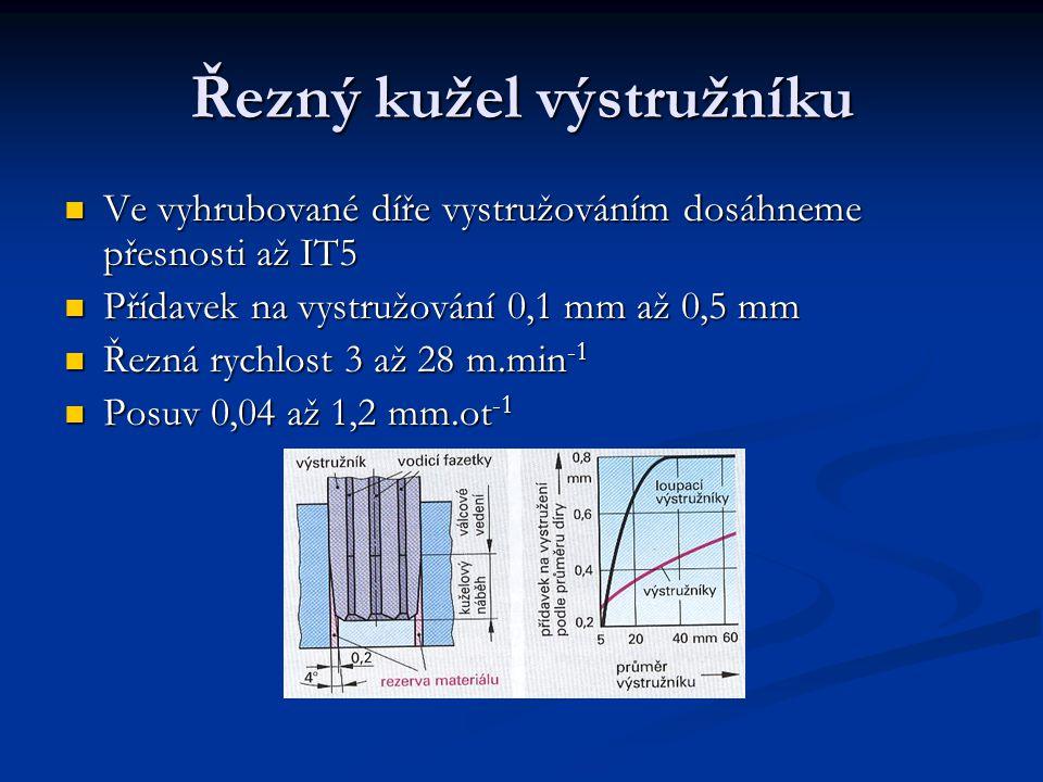 Řezný kužel výstružníku Ve vyhrubované díře vystružováním dosáhneme přesnosti až IT5 Přídavek na vystružování 0,1 mm až 0,5 mm Řezná rychlost 3 až 28