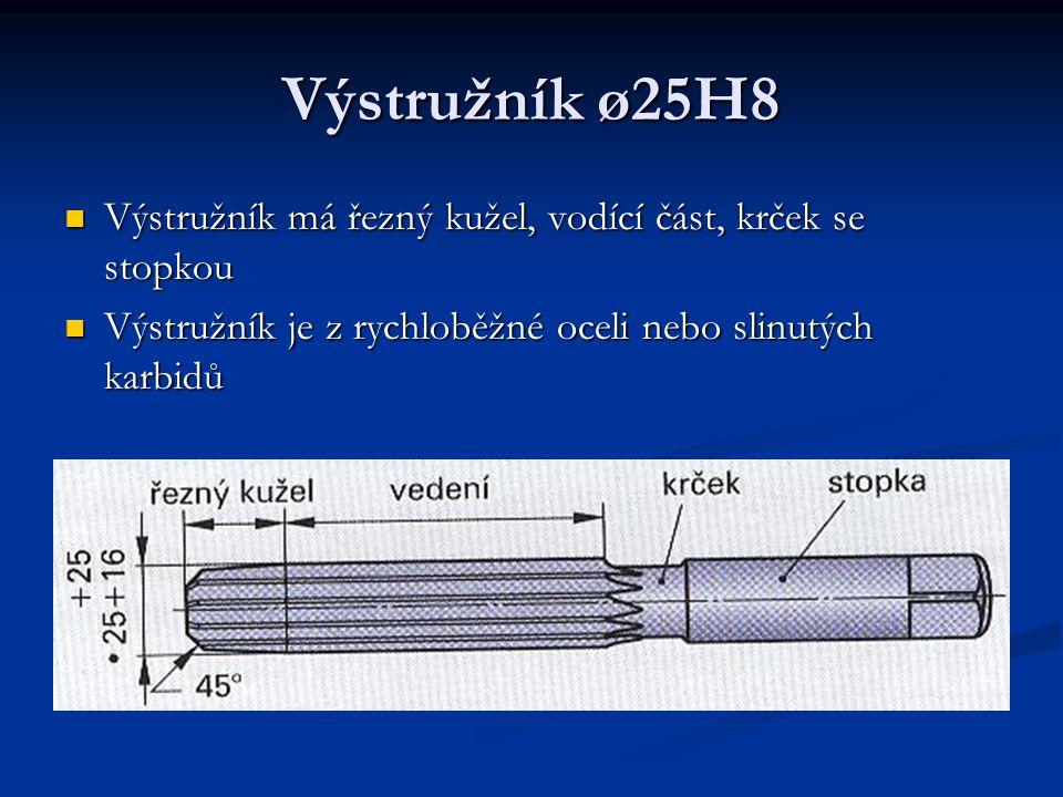 Výstružník ø25H8 Výstružník má řezný kužel, vodící část, krček se stopkou Výstružník má řezný kužel, vodící část, krček se stopkou Výstružník je z ryc