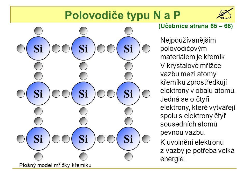 Polovodiče typu N a P (Učebnice strana 65 – 66) Si Nejpoužívanějším polovodičovým materiálem je křemík. V krystalové mřížce vazbu mezi atomy křemíku z
