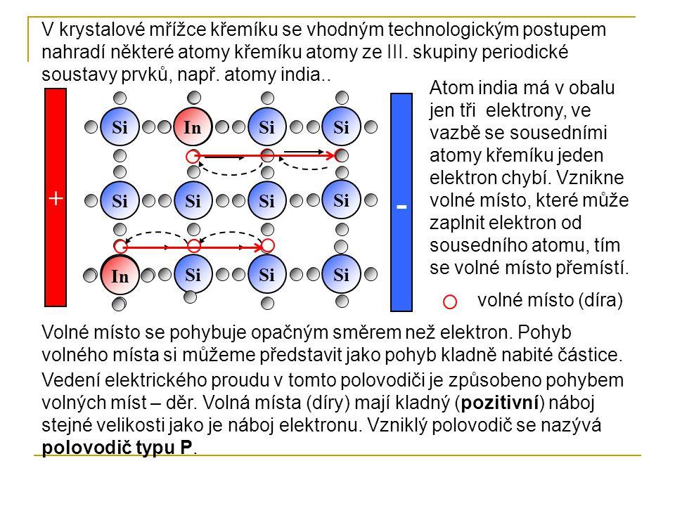 - Si + In Si V krystalové mřížce křemíku se vhodným technologickým postupem nahradí některé atomy křemíku atomy ze III. skupiny periodické soustavy pr