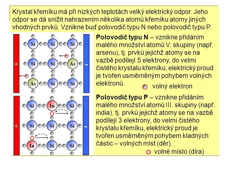 Polovodič typu N – vznikne přidáním malého množství atomů V. skupiny (např. arsenu), tj. prvků jejichž atomy se na vazbě podílejí 5 elektrony, do velm