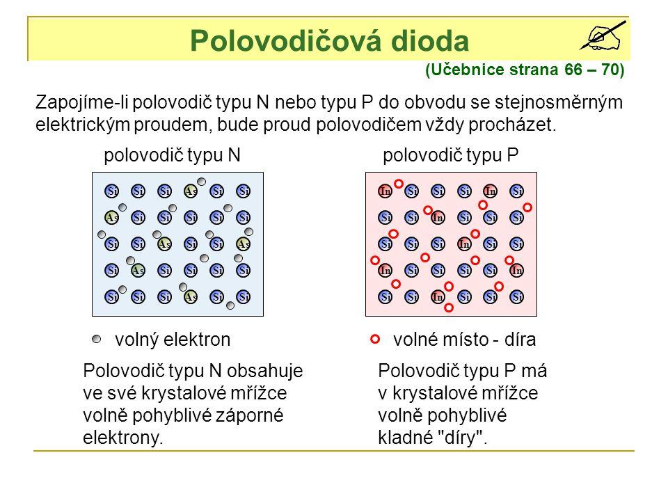 Polovodičová dioda (Učebnice strana 66 – 70) As Si As In Si In Zapojíme-li polovodič typu N nebo typu P do obvodu se stejnosměrným elektrickým proudem, bude proud polovodičem vždy procházet.