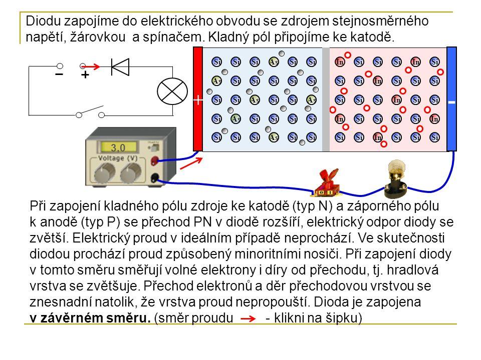 As Si As In Si In 3,0 - + Při zapojení kladného pólu zdroje ke katodě (typ N) a záporného pólu k anodě (typ P) se přechod PN v diodě rozšíří, elektrický odpor diody se zvětší.