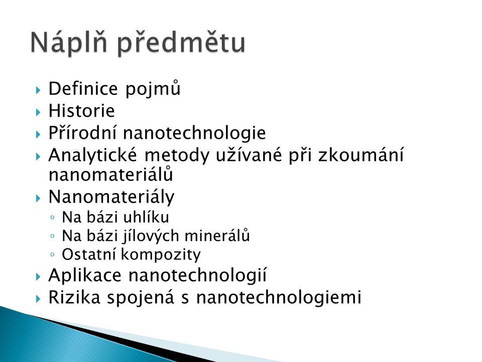  Definice pojmů  Historie  Přírodní nanotechnologie  Analytické metody užívané při zkoumání nanomateriálů  Nanomateriály ◦ Na bázi uhlíku ◦ Na bá