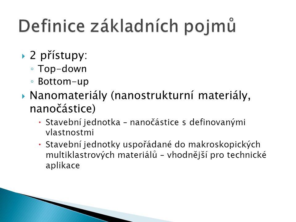  2 přístupy: ◦ Top-down ◦ Bottom-up  Nanomateriály (nanostrukturní materiály, nanočástice)  Stavební jednotka – nanočástice s definovanými vlastnos